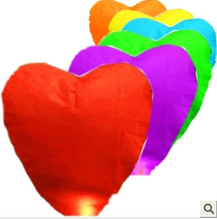 Heart Sky Lanterns Chinese Paper Sky Candle Fire Balloons for Wedding / Anniversary / Party / Valentine(China (Mainland))