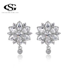 G&S Gift Classic Genuine Austrian Shinning Spoon Crystals Fashion Earrings Flower drop Earrings zircon Hot Sale For Party(China (Mainland))