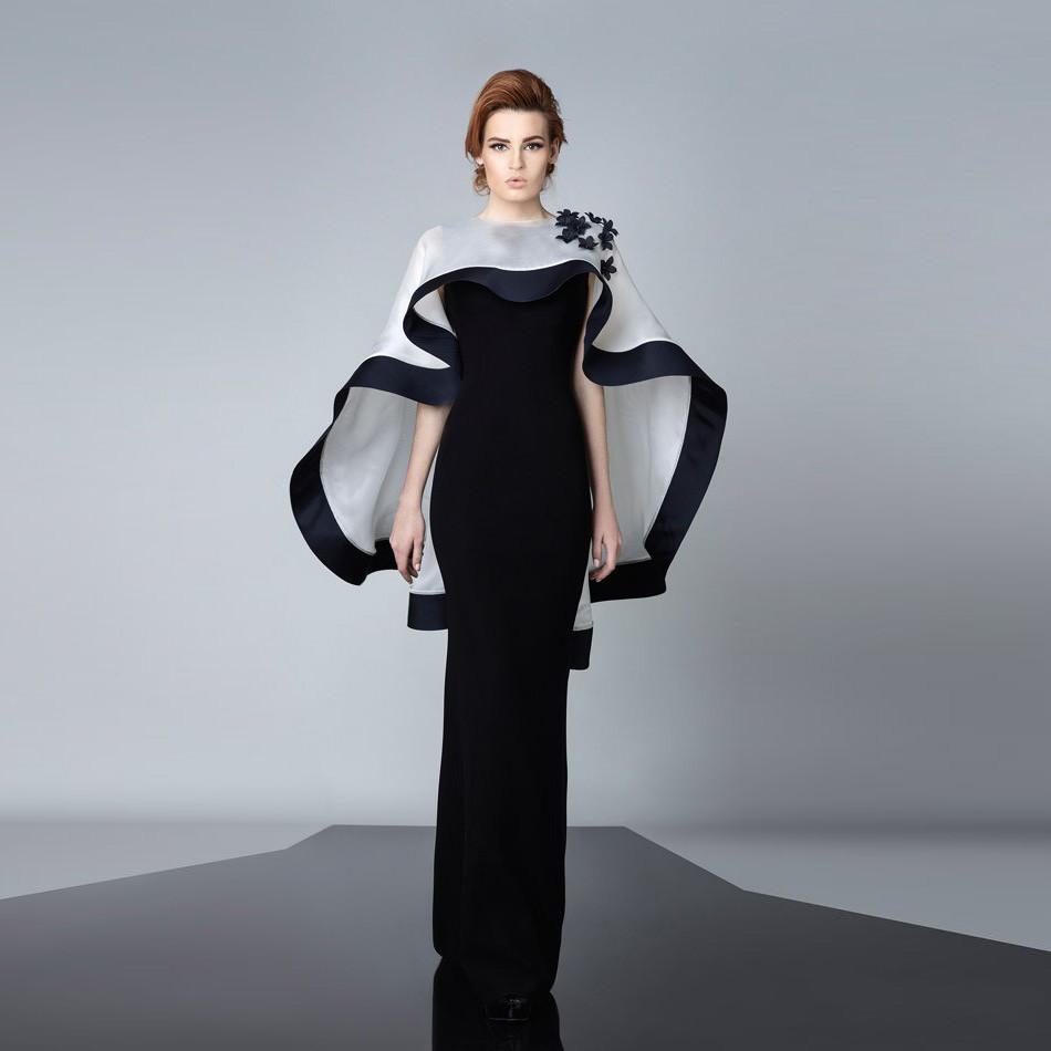 Black Evening Dresses with White Cape dress Modest Appliques Long Customed abayas Robe De Soiree celebrity gowns for sale(China (Mainland))
