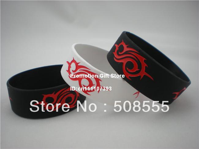 "Slipknot Wristband Concert Bracelet Tour Wrist Band New Music Merchandise Site, 1"" Wide, 2colours, 50pcs/lot, free shipping(China (Mainland))"