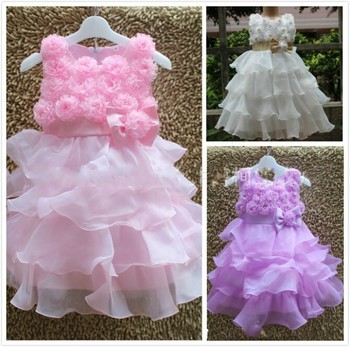 EMS DHL Free Shipping NEW Hot-selling Baby Gilrs Kids children rose  princess Party Holiday dress  princes dress gauze dress
