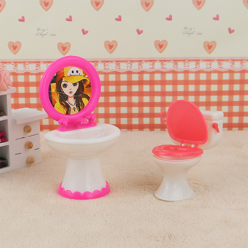 2pcs/set 1 Closestool +1 Washbasin Toilet Wash Devices For Barbie And Kelly Doll's House Furniture, Doll Accessories.(China (Mainland))