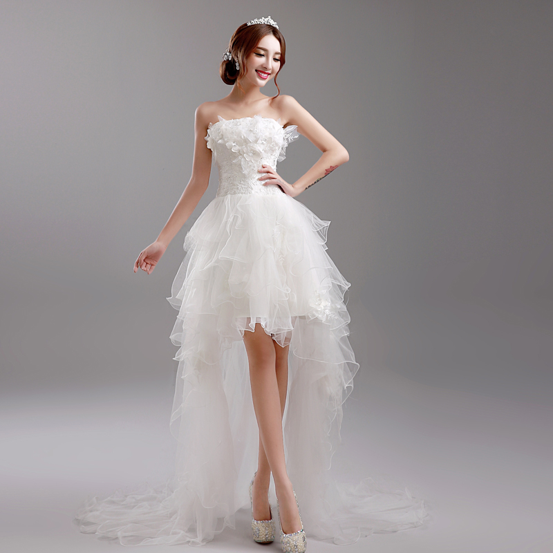 New arrival princess grace wedding dresses of 2015 the flowers pleat with long tail and short