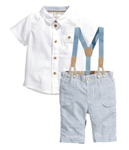 Buy small shell 2016 Summer style Children baby boys clothing sets kids clothes cotton shirt+jeans+straps 3 pcs Q0001 for $9.88 in AliExpress store