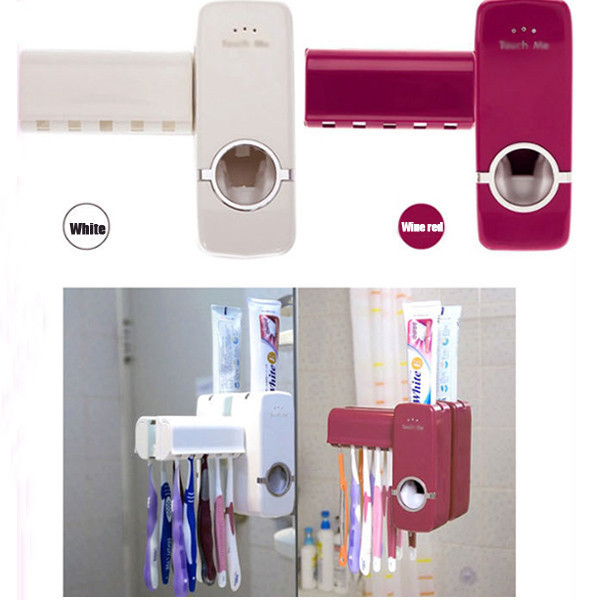 2 Colours Automatic Toothpaste Dispenser + 5 Toothbrush Holder Set Wall Mount Stand toothbrush Family sets(China (Mainland))