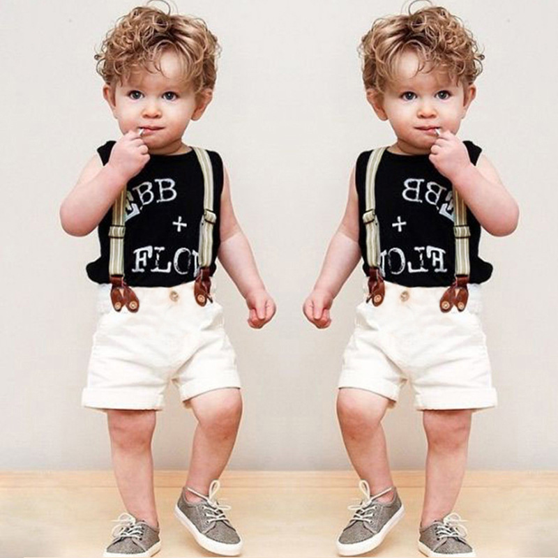 Summer Children's Sets European&American Style Boys Sleeveless T-shirt+Shorts with Detachable Suspenders Kids Leasure Clothing(China (Mainland))