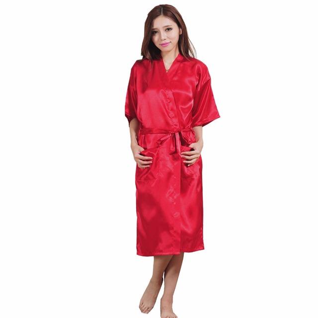 Большой размер S-XXXL шелковый район халат женщины кимоно атлас длинный халат сексуальное ...