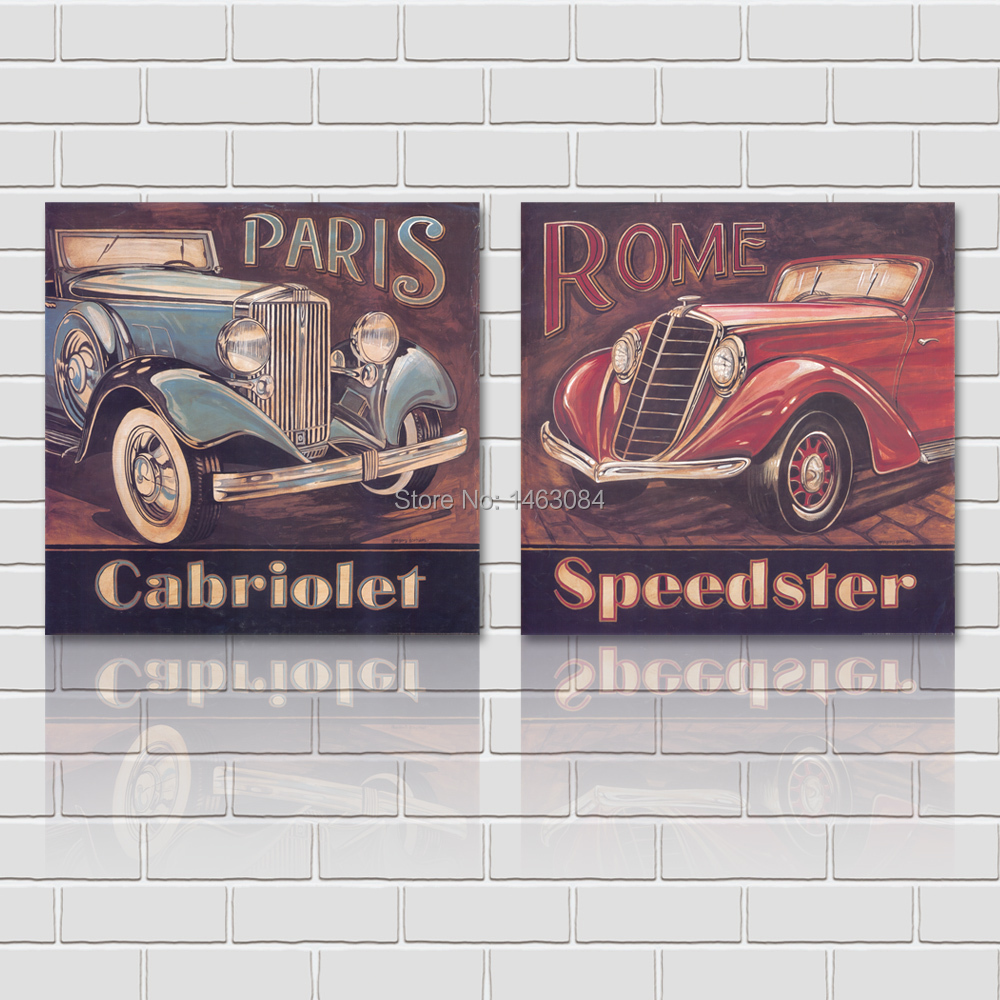 Classical Paris Rome Cars Oil Painting 2 Pieces Wall Art Set Group Paintings Canvas Print Home Goods Wall Art Decoration(China (Mainland))