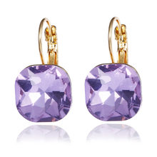 6 Colors Steampunk Gold Color Blue Crystal Square Stud Earrings for Women Gothic Wedding Earring Statement Jewelry bijoux e0257(China)