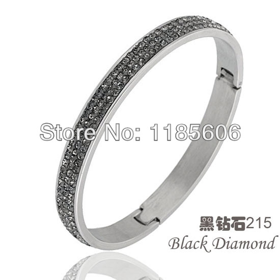 2014 new fashion Stainless steel bracelets & bangles women black Rhinestone Crystal Jewelry gifts - CRYSTAL BEADS store