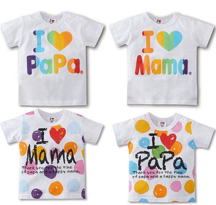 I love papa i love mama children t shirt baby fashion t-shirt short sleeve kids short shirt infant tees child t-shirts(China (Mainland))