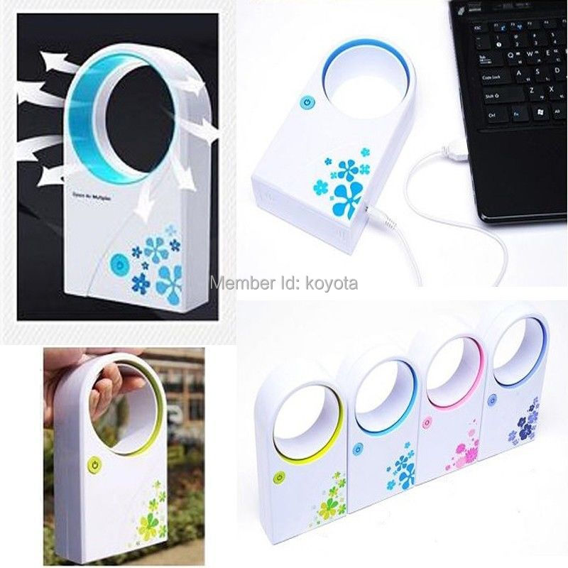 Hot USB 2.0 Office Portable Handheld Mini Air Conditioner Bladeless Fan Desktop W/O No Leaf Air Fan(China (Mainland))