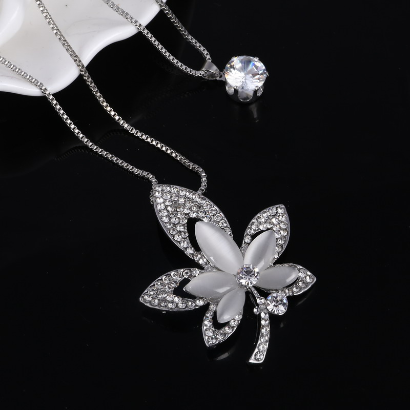 Silver Plated Double Chain Necklace Simulated Diamond Decorative Leave Design Pendant Necklace Cat's Eye Women Necklace(China (Mainland))