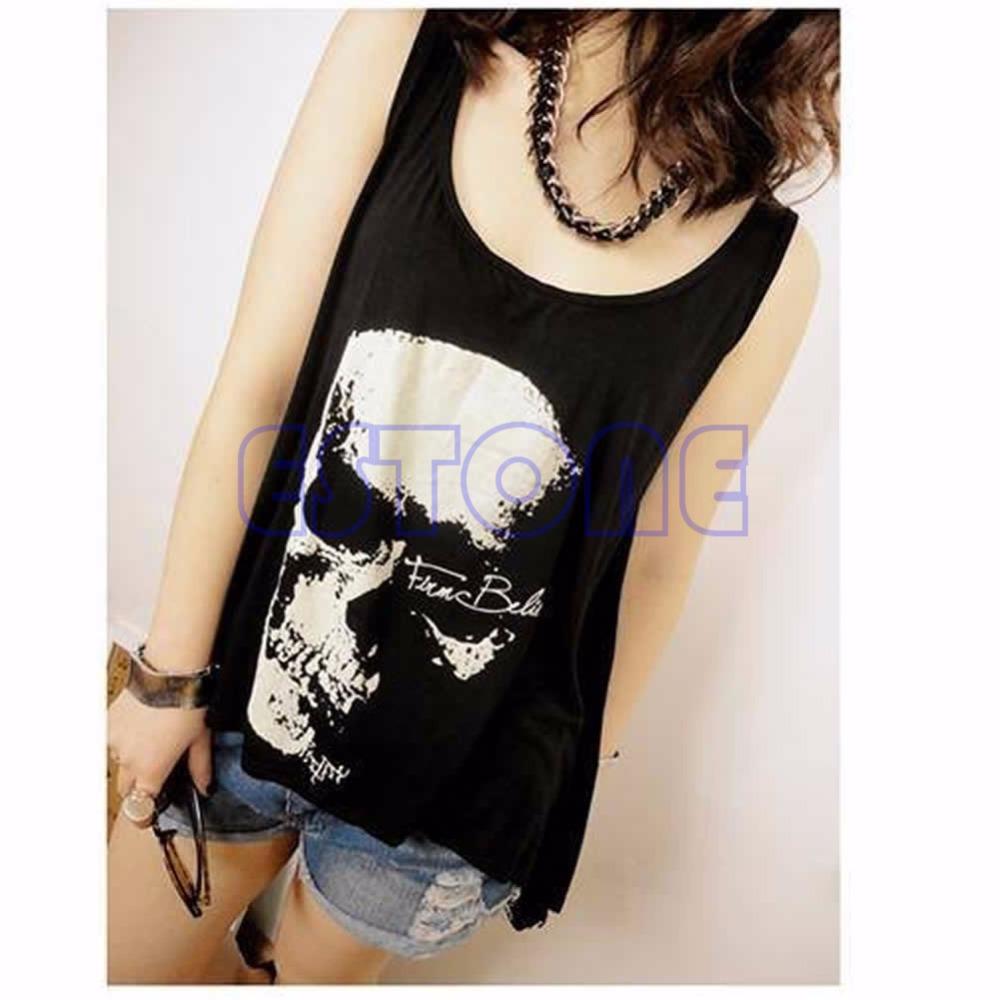 1 PC Gothic Skull Backless T Shirt Tank Vest Punk Rock Summer Singlet Tassel(China (Mainland))