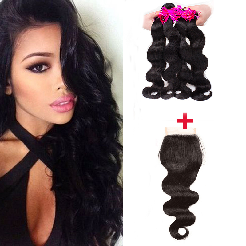 4 Bundle Deals Brazilian Hair Weave Bundles Queen Hair Products With Closure Bundle Brazilian Virgin Hair Body Wave