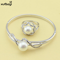 Fashion 925 Silver Pearl Jewelry For Women Imitation Pearls Jewelry Set Clean White Crystal Bracelets Rings