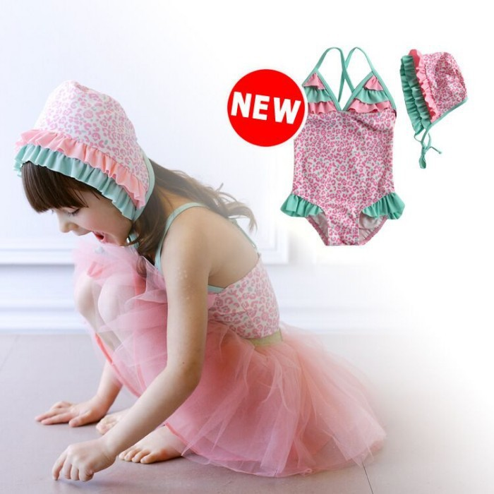 EMS DHL Free shipping Wholesale Pink Leopard Ruffles Lace Children Toddler Girls Cute Swimwear Swimsuit + Swimhat Tulle Skirt<br><br>Aliexpress