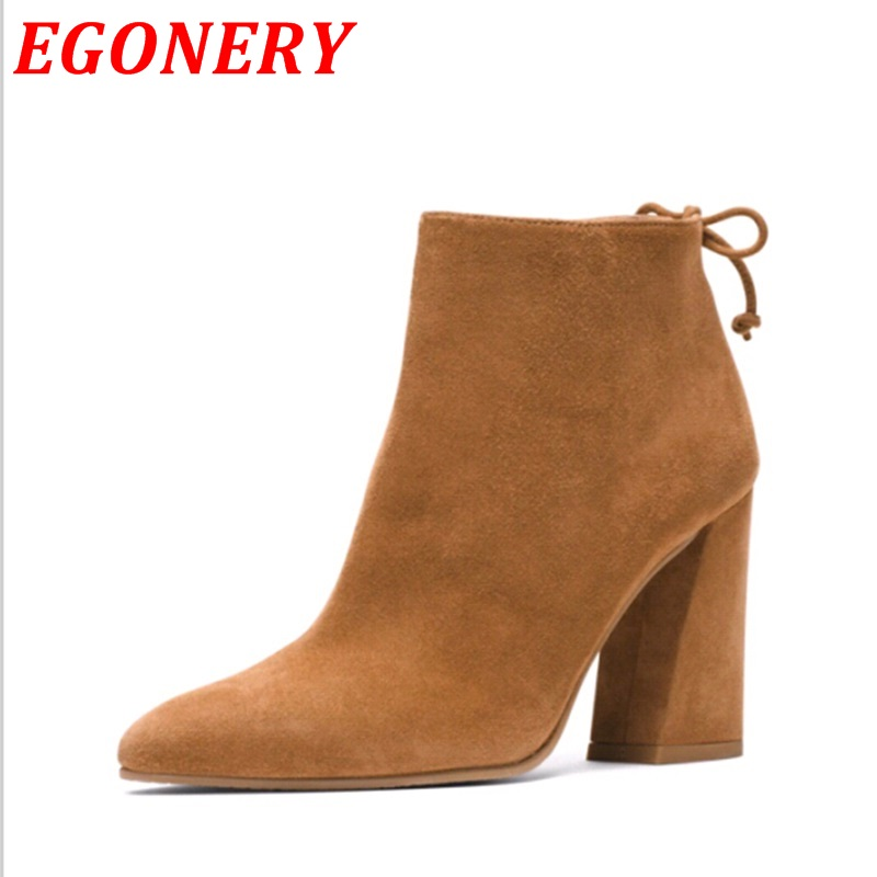 new design high quality nubuck leather sheos thick high heels women ankle boots sexy pointed toe thick heel autumn fashion boots(China (Mainland))