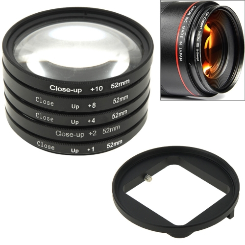 6 In1 52mm Close Up Lens Filter Macro Lens Filter + Filter Adapter Ring For