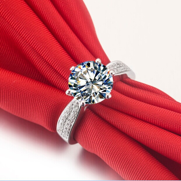 Long-lasting Solid 14 Karat Gold Ring For Darling 3 CT Synthetic Diamond Ring for Women Pure Gold Statement Wedding Jewelry(China (Mainland))