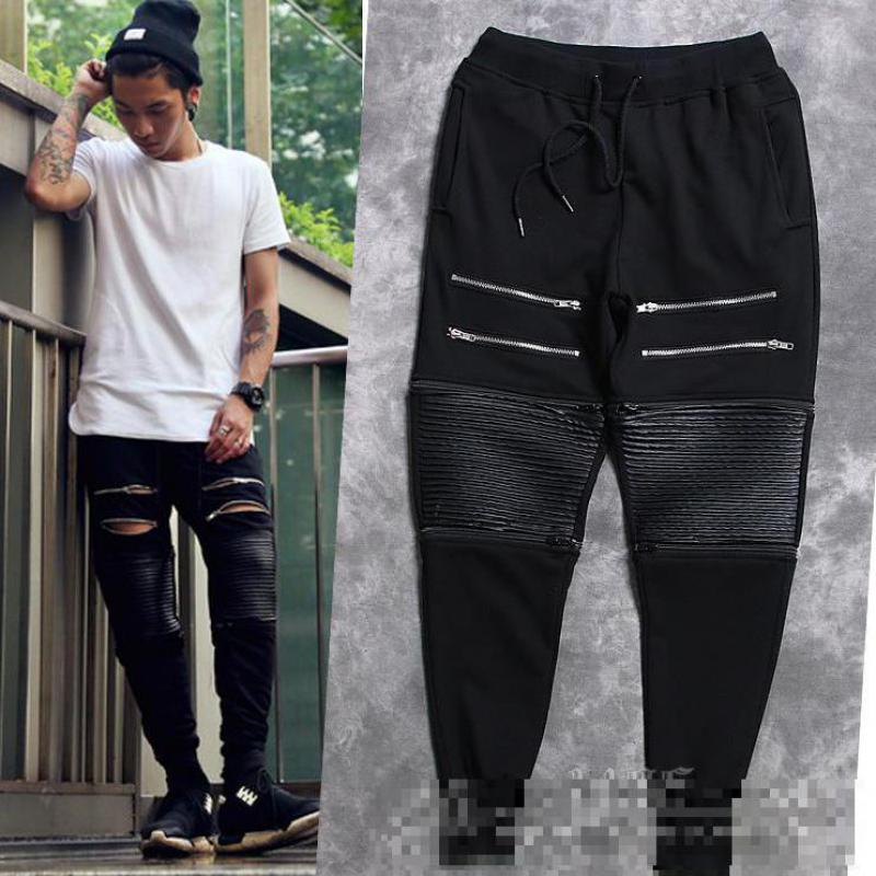 fashion men kanye west black double zipper Jogging pu Jogger Pants Bermuda Sport punk trousers  Motorcycle Swag BoardОдежда и ак�е��уары<br><br><br>Aliexpress