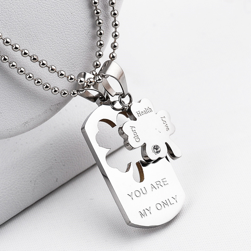 """You are my only"" Lettering Necklace Clover Pendant Health Love Glory Lettering With Beads Rhinestone Lovers Couples Necklaces(China (Mainland))"