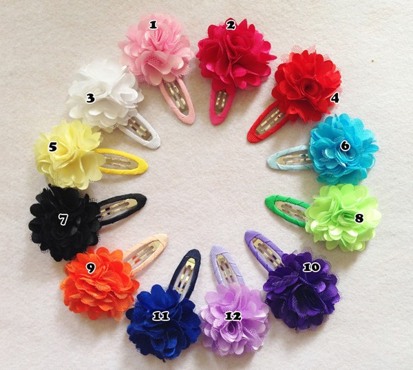 24 Pcs/lot Fashion New Style Solid Satin Flower Hair Clip Baby Boutique Hairpins With Flower Handmade BB Clip Hair Accessories(China (Mainland))