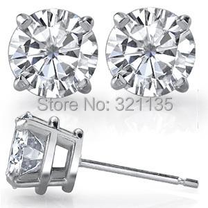 Fine Jewelry Moissanites Stud Earrings 14K Gold Earrings Total 1 Carat Diamond Lab Grown Gem 4-Prong Diamond Studs Brand Earring(China (Mainland))