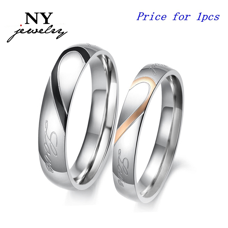 fashion love heart couple ring for women men wedding engagement rings wholesale stainless steel jewelry(China (Mainland))