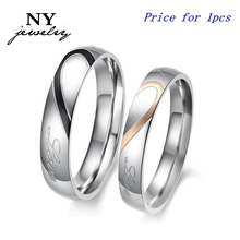 Wholesale jewelry lover heart couple ring for men and women engraving words CR-001