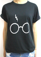 Women T shirt Harry Potter Lightning Glasses Letters Print Cotton Casual Funny Shirt For Lady Black White Top Tee Hipster T-59(China (Mainland))