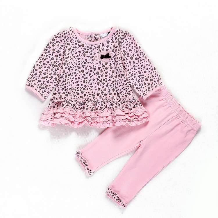 Age 0-2 Spring&Autumn Newborn Baby Girl Leopard Clothing Set 2 Pieces pink Sets T-shirt+Pants Girls Casual Infant Clothes(China (Mainland))
