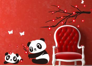 Cherry Flower&Cute Baby Panda Wall Sticker Kids Rom Decor Tree Decal Art Vinyl