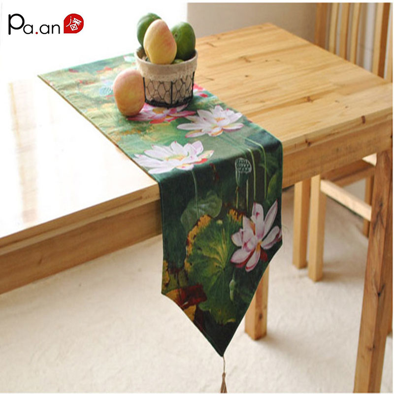 buy classical table runner green lotus printed chemin de table new design. Black Bedroom Furniture Sets. Home Design Ideas