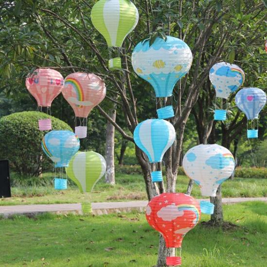 "10"" 25cm 10PCS Rainbow Hot Air Balloon Paper Lantern Paper Chinese Wishing Lantern Fire Sky lantern for Birthday Wedding Party(China (Mainland))"