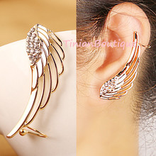 Pendientes New Fashion Punk Rhinestone Clip Earrings For Women Angel Wing Gold Earring Ear Cuff Brincos Jewelry Free shipping(China (Mainland))
