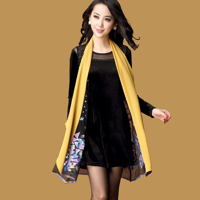 2014 Autumn Fashion Long Sleeve Black Dress + Colours Embroidery Tank Top Plus Size 4XL Pullover Dresses(China (Mainland))
