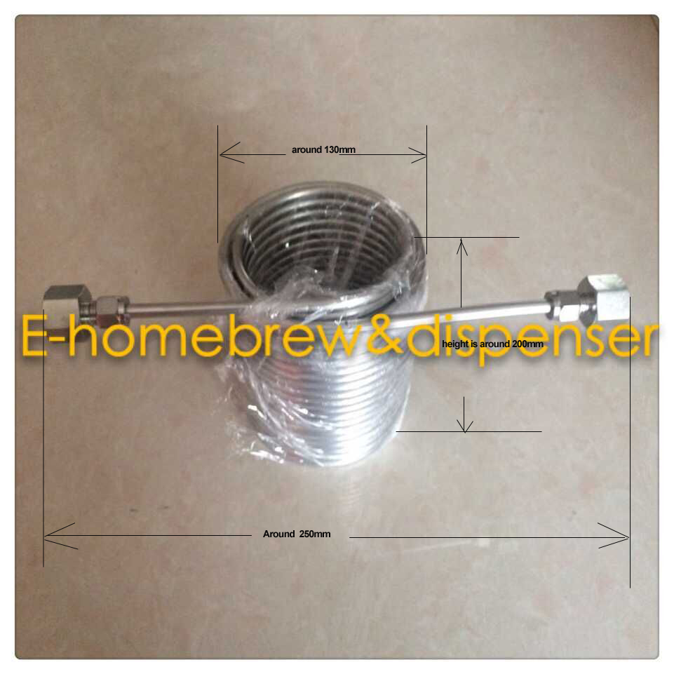 15meters Stainless Steel Coil 5' Diameter beer coil cooler for your homebrew make jockey with 5/8'G connectors(China (Mainland))