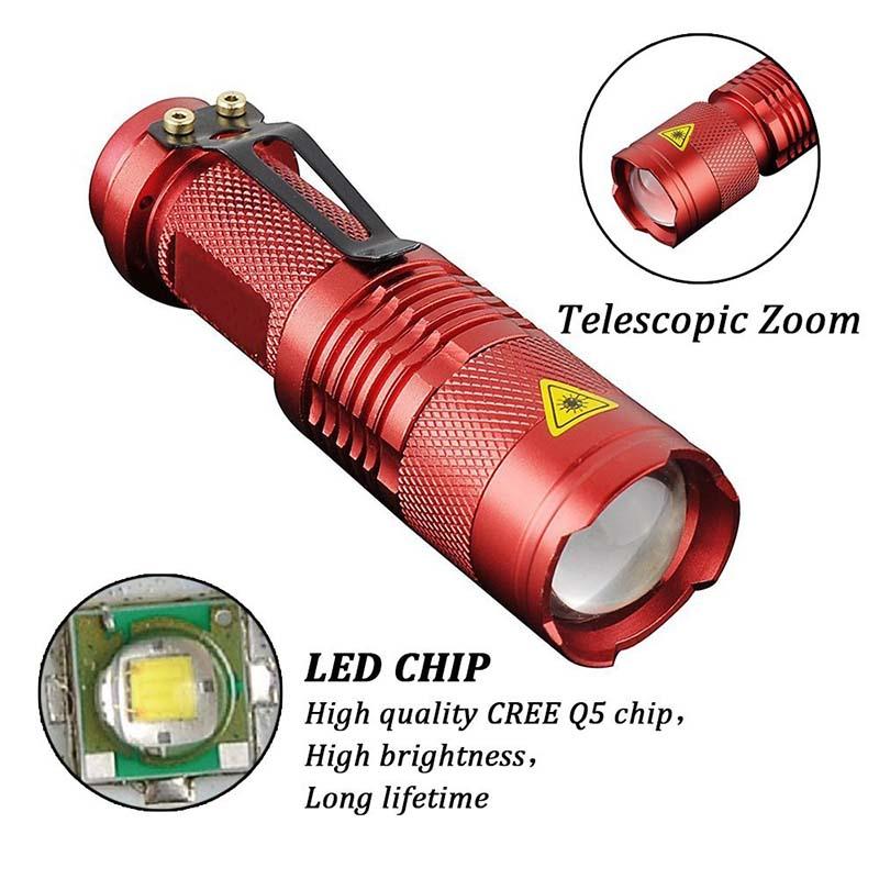 High Quality Mini LED Torch 7W 2000LM CREE Q5 LED Flashlight Adjustable Focus 3 Modes Zoom Flash Light Lamp Free Shipping zk93(China (Mainland))