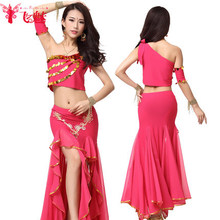 Flying charm belly dance costumes exercise suit sequins sexy single shoulder bag hip skirt suit jacket side vents