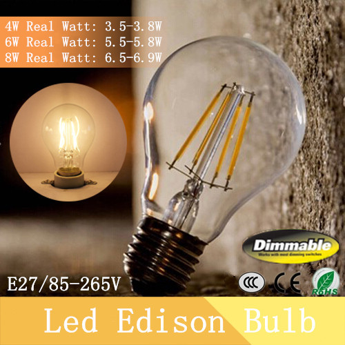 New Design A19 Dimmable Filament Edison LED Bulb E27 Led White 4W 6W 8W 220V 110V AC 110LM/W Warm White 360 Degree Led Lamp(China (Mainland))