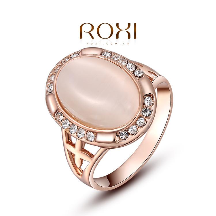 ROXI brand hot ellipse stone18k rose gold ring super shiny Austrian crystal ladies' rings fashion jewelry free shipping
