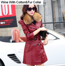 Elegant Shearling Leather Jacket Women 2016 New Arrival Ladies Clothing Hot Selling With Fur Collar Warm Long Coat Black GQ1267(China (Mainland))
