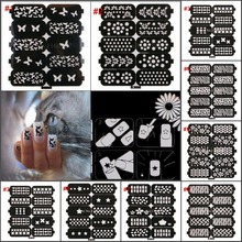 New 8 Designs Choice Unique Nail Reusable Pattern Stamp Hollow Nail Art Template Stickers Diecut Stencil Guide Stickers(China (Mainland))