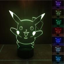 HOT Pokemon Go Collection Game Figure Toys Pokemon Pikachu Model 3D Night Light Color Change Pokemon Toys Gift Drop Shipping