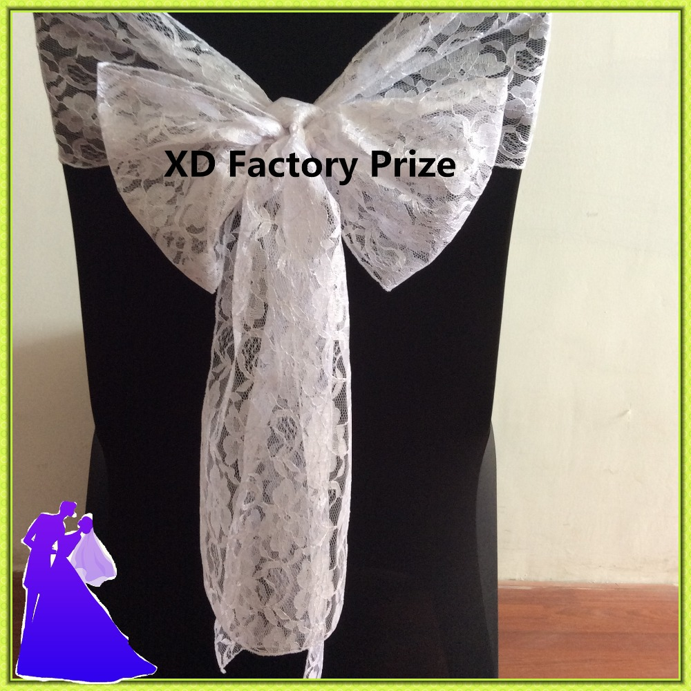 2016 new style fancy romantic white lace chair sashes for wedding decoration(China (Mainland))