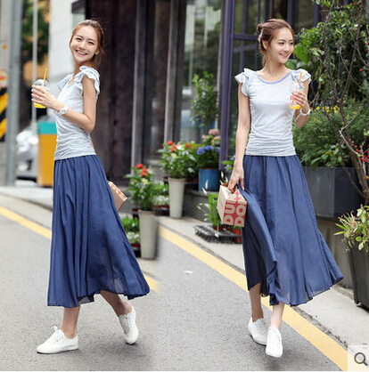 Elegant Stylish Beach Long Skirt 2015 Vestidos Style Leisure Summer Women's Solid Color Bohemian Pleated Skirts Hot Sale ZL0276(China (Mainland))