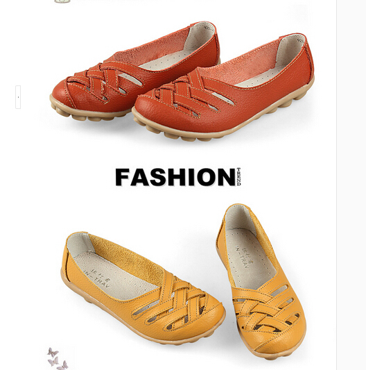 2015 New 10colors! Women Genuine Leather Mother Shoes Moccasins Women's Soft Leisure Flats Female Driving Shoe Flat 24(China (Mainland))
