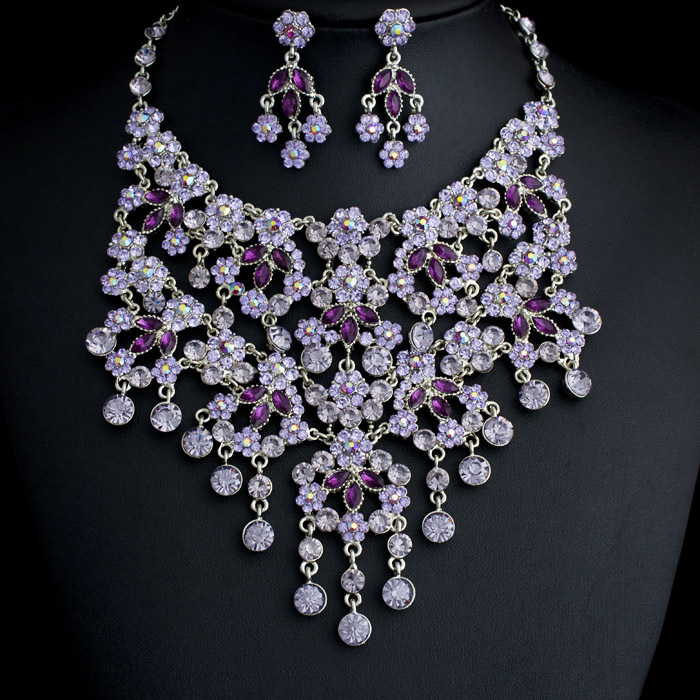 free shipping purple crystal necklace earrings set