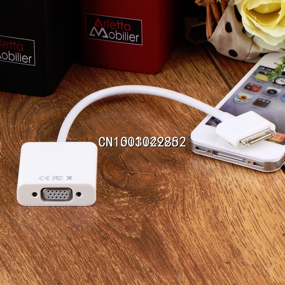 Dock Connector to VGA HDTV LCD Projector Adapter Cable Cord for iPad 2 3 for iPhone 4 4S for iPod(China (Mainland))